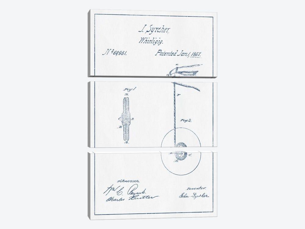 J. Syrcher Whirligig Patent Sketch (Ink) by Aged Pixel 3-piece Canvas Artwork