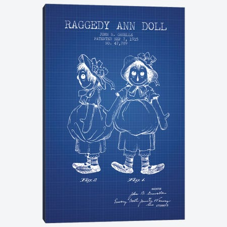 J.B. Gruelle Raggedy Ann Doll Patent Sketch (Blue Grid) Canvas Print #ADP2972} by Aged Pixel Canvas Artwork