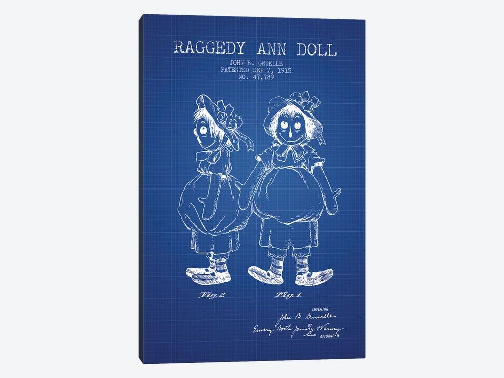 J.B. Gruelle Raggedy Ann Doll Patent Sketch (Blue Grid) by Aged Pixel 1-piece Canvas Print