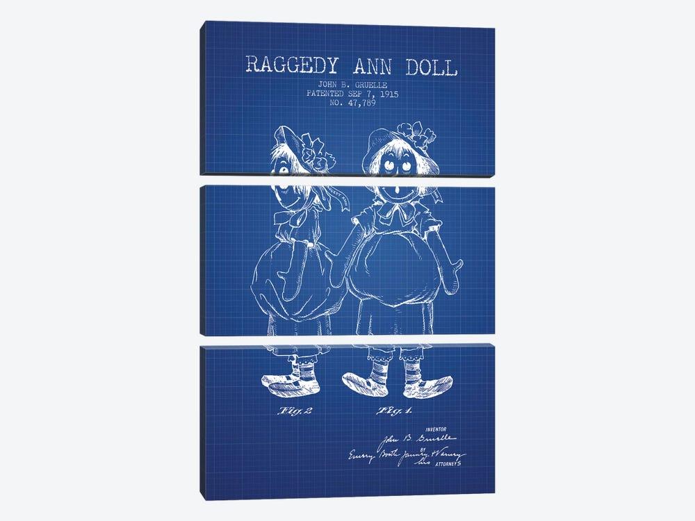 J.B. Gruelle Raggedy Ann Doll Patent Sketch (Blue Grid) by Aged Pixel 3-piece Canvas Print