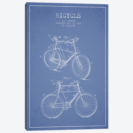 J.F. Murphy Bicycle Patent Sketch (Light Blue) Canvas Print #ADP2976} by Aged Pixel Canvas Art Print