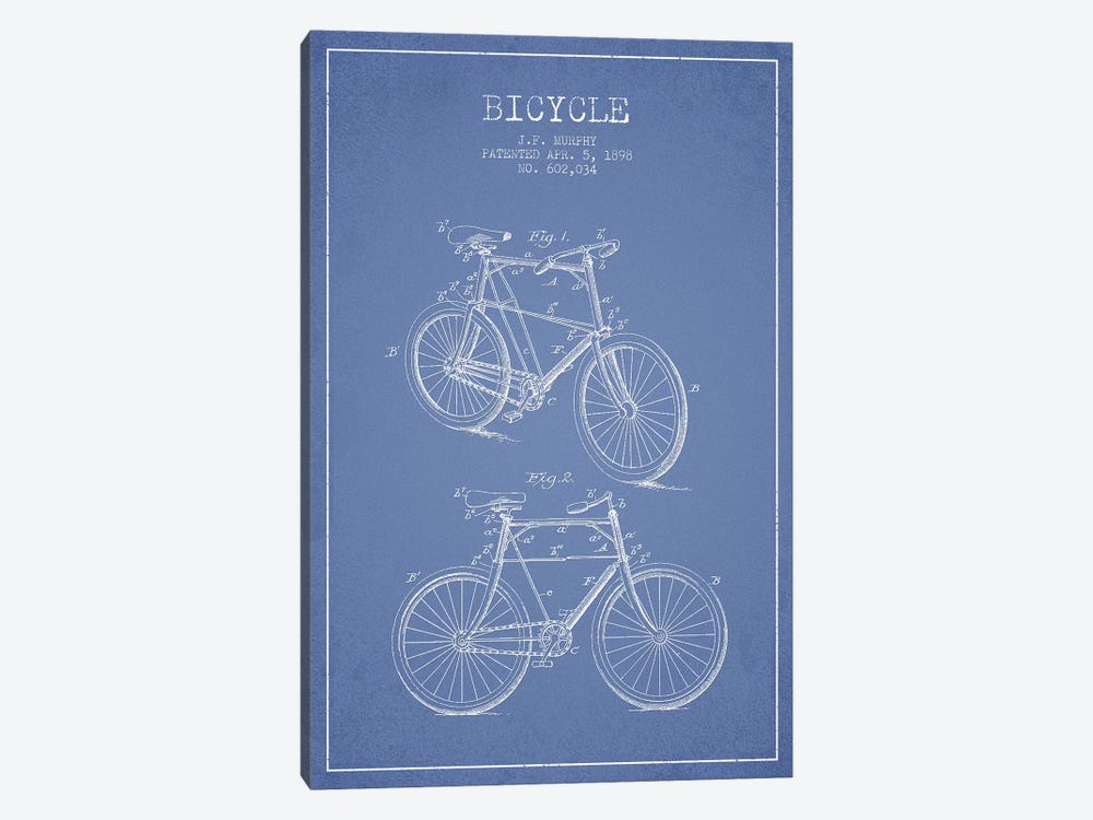 J.F. Murphy Bicycle Patent Sketch (Light Blue) by Aged Pixel 1-piece Canvas Art Print