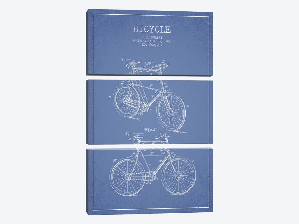 J.F. Murphy Bicycle Patent Sketch (Light Blue) by Aged Pixel 3-piece Art Print