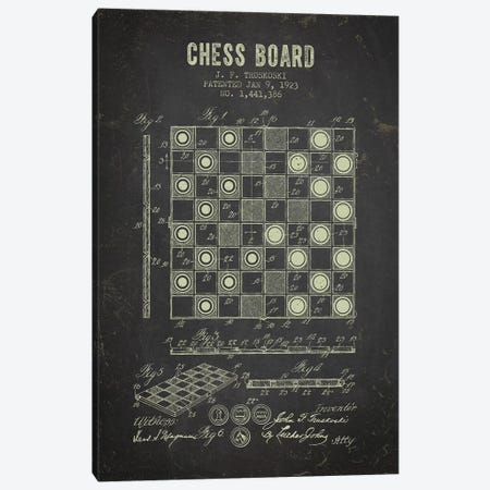 J.F. Truskoski Chess Board Patent Sketch (Charcoal) Canvas Print #ADP2977} by Aged Pixel Canvas Art Print