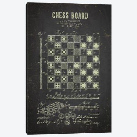 J.F. Truskoski Chess Board Patent Sketch (Charcoal) Canvas Print #ADP2977} by Aged Pixel Canvas Art Print