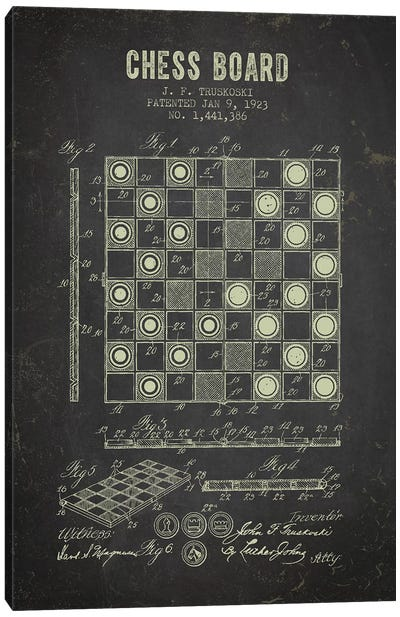 J.F. Truskoski Chess Board Patent Sketch (Charcoal) Canvas Art Print