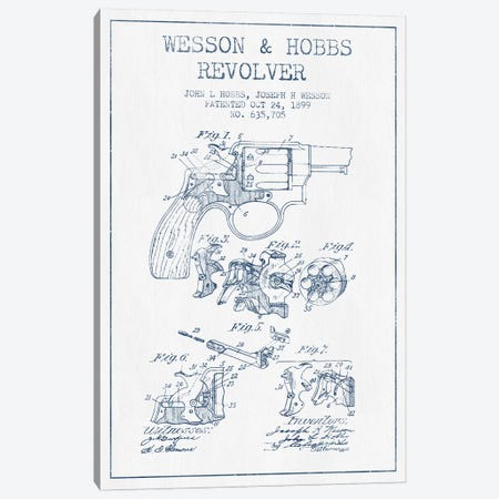 J.H. Wesson & J.L. Hobbs Revolver Patent Sketch (Ink) Canvas Print #ADP2978} by Aged Pixel Canvas Artwork