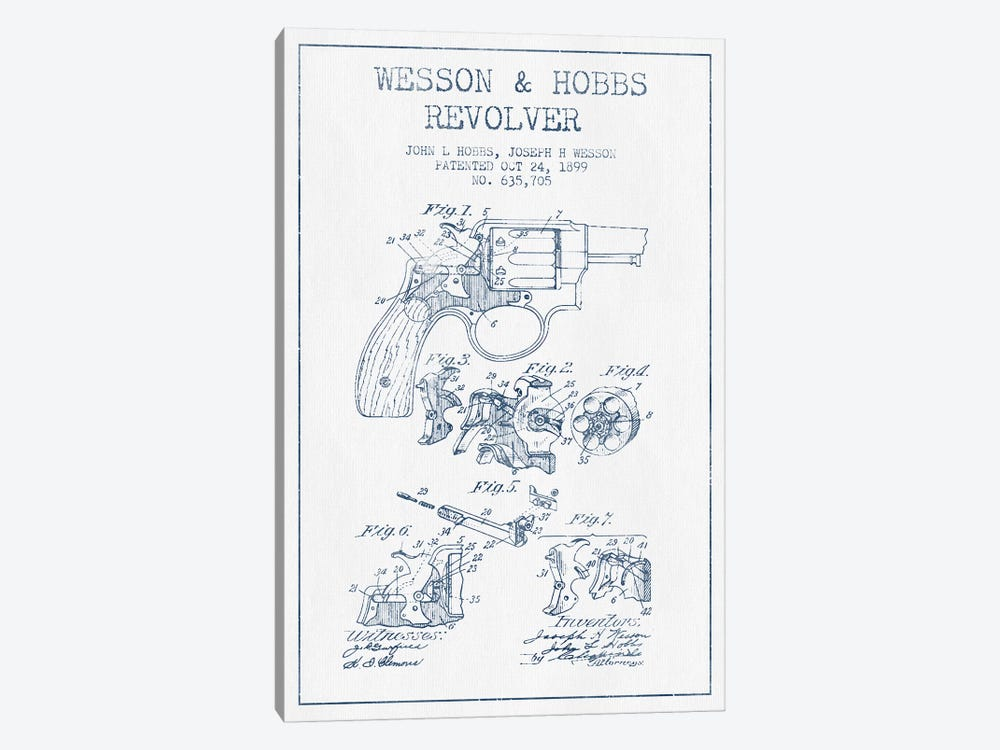 J.H. Wesson & J.L. Hobbs Revolver Patent Sketch (Ink) by Aged Pixel 1-piece Canvas Print