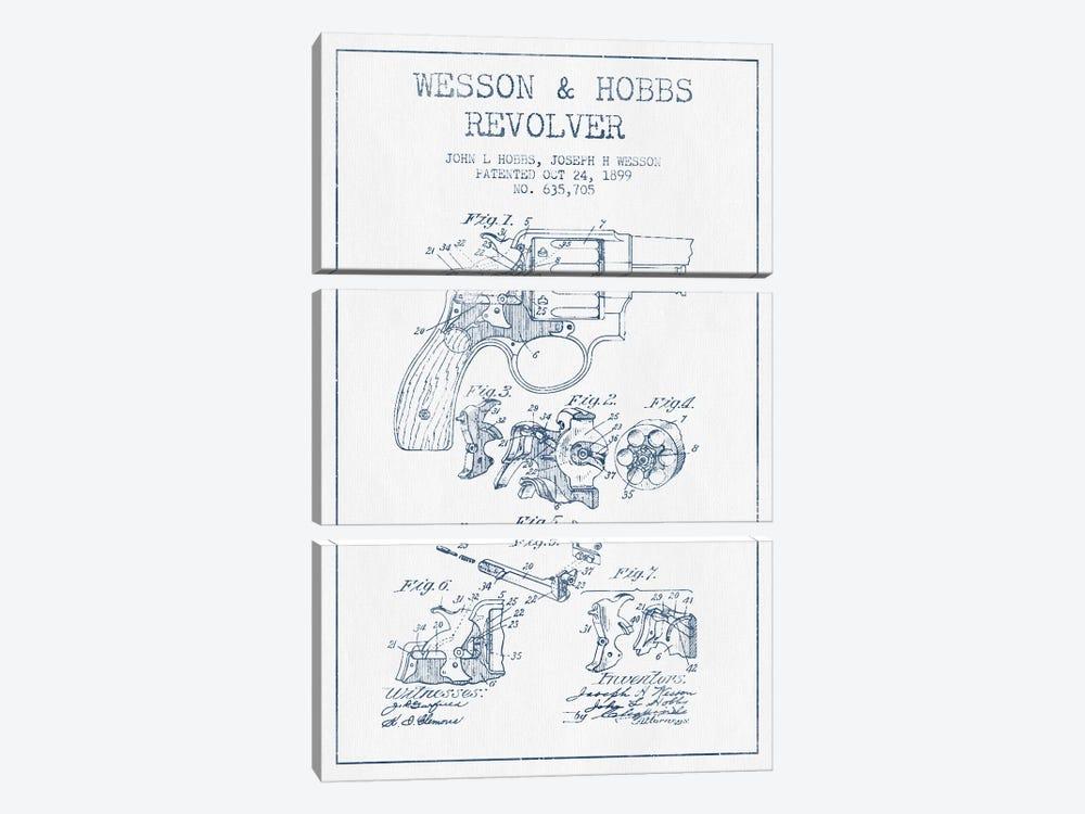 J.H. Wesson & J.L. Hobbs Revolver Patent Sketch (Ink) by Aged Pixel 3-piece Art Print