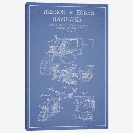 J.H. Wesson & J.L. Hobbs Revolver Patent Sketch (Light Blue) Canvas Print #ADP2979} by Aged Pixel Canvas Artwork