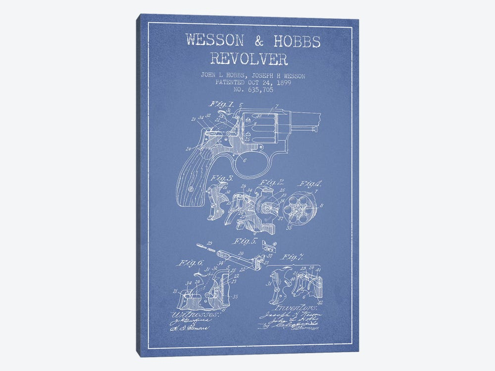 J.H. Wesson & J.L. Hobbs Revolver Patent Sketch (Light Blue) by Aged Pixel 1-piece Canvas Wall Art
