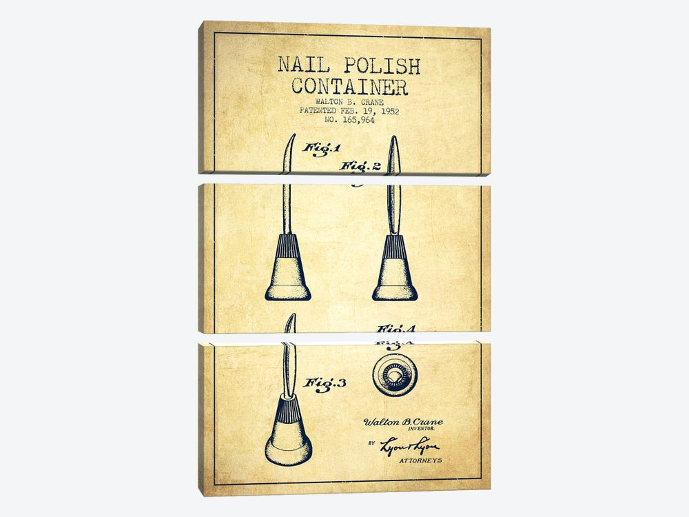 Container Nail Polish Vintage Patent Blueprint by Aged Pixel 3-piece Canvas Artwork