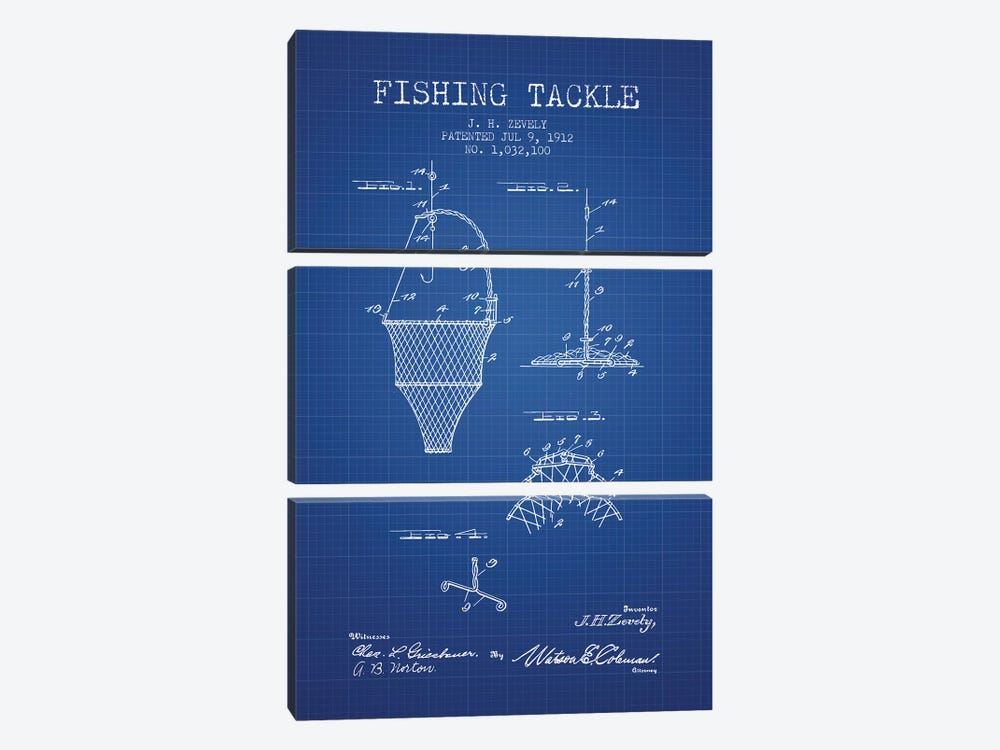J.H. Zevely Fishing Tackle Patent Sketch (Blue Grid) by Aged Pixel 3-piece Canvas Artwork