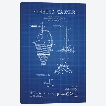 J.H. Zevely Fishing Tackle Patent Sketch (Blue Grid) Canvas Print #ADP2980} by Aged Pixel Art Print