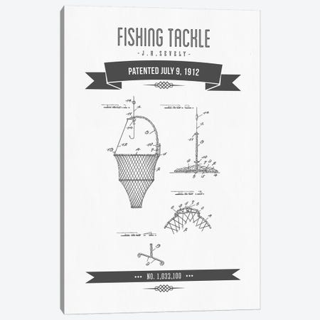 J.H. Zevely Fishing Tackle Patent Sketch Retro (Charcoal) Canvas Print #ADP2981} by Aged Pixel Canvas Print
