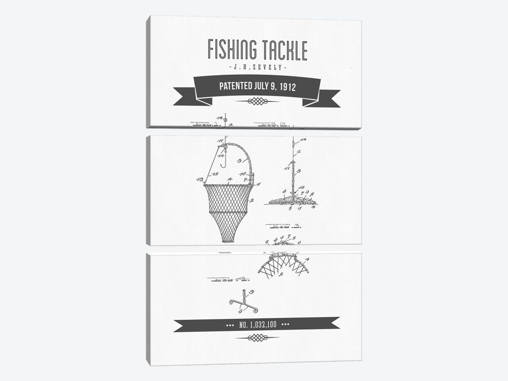 J.H. Zevely Fishing Tackle Patent Sketch Retro (Charcoal) by Aged Pixel 3-piece Canvas Art Print