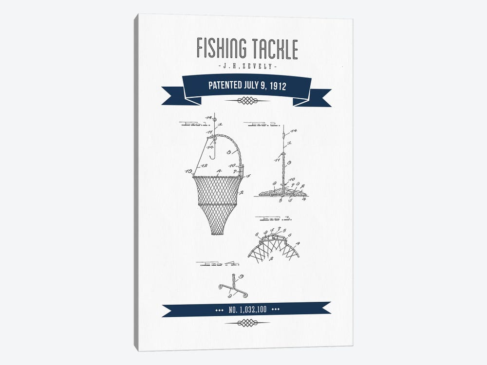 J.H. Zevely Fishing Tackle Patent Sketch Retro (Navy Blue) by Aged Pixel 1-piece Canvas Wall Art