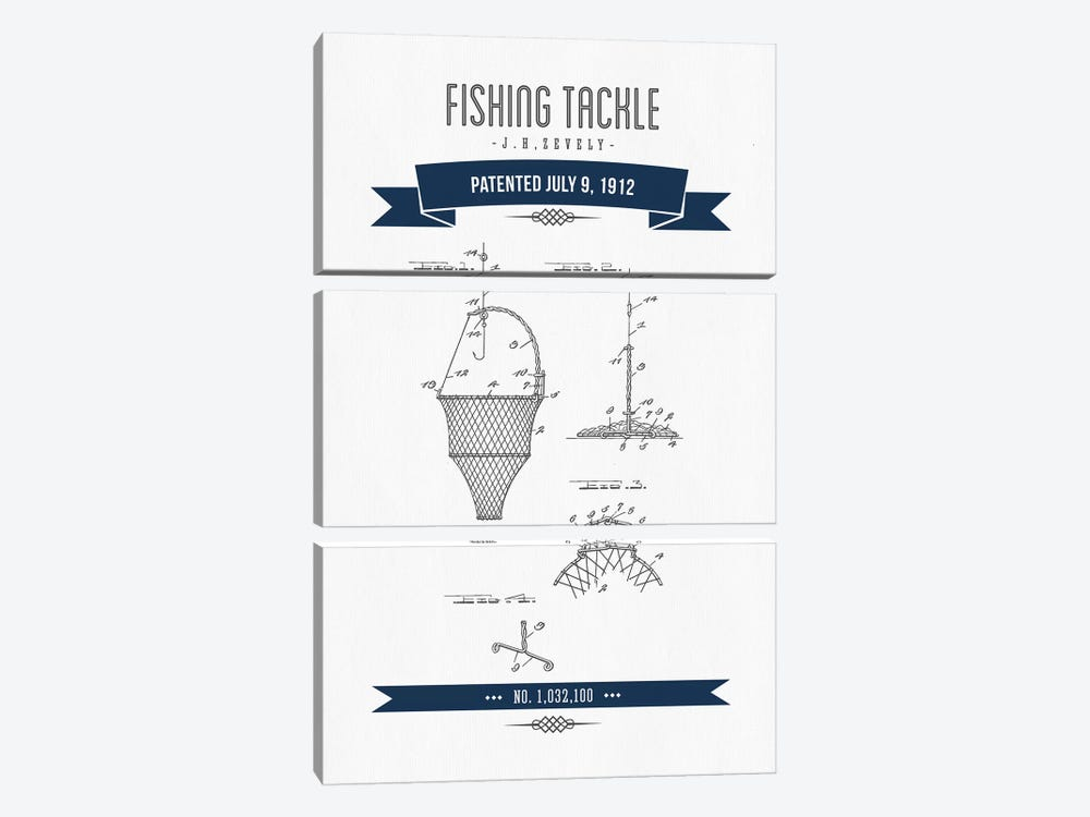 J.H. Zevely Fishing Tackle Patent Sketch Retro (Navy Blue) by Aged Pixel 3-piece Canvas Artwork