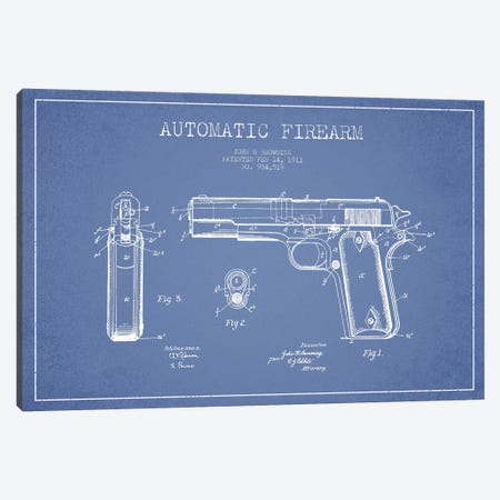 J.M Browning Automatic Firearm Patent Sketch (Light Blue) Canvas Print #ADP2984} by Aged Pixel Canvas Art
