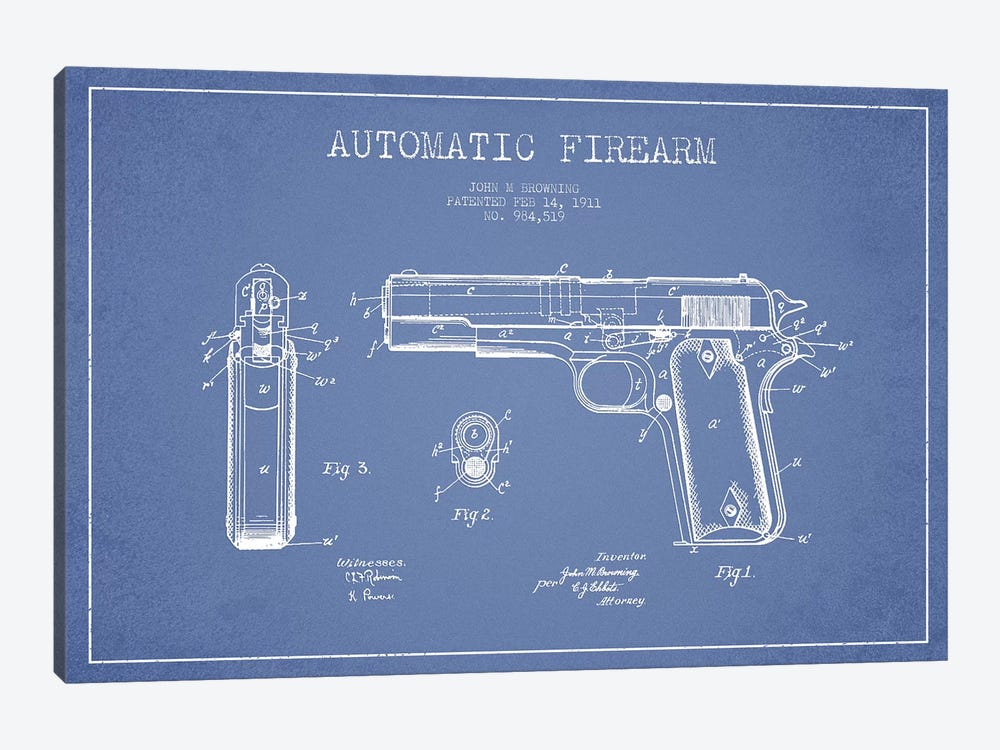 J.M Browning Automatic Firearm Patent Sketch (Light Blue) by Aged Pixel 1-piece Canvas Wall Art