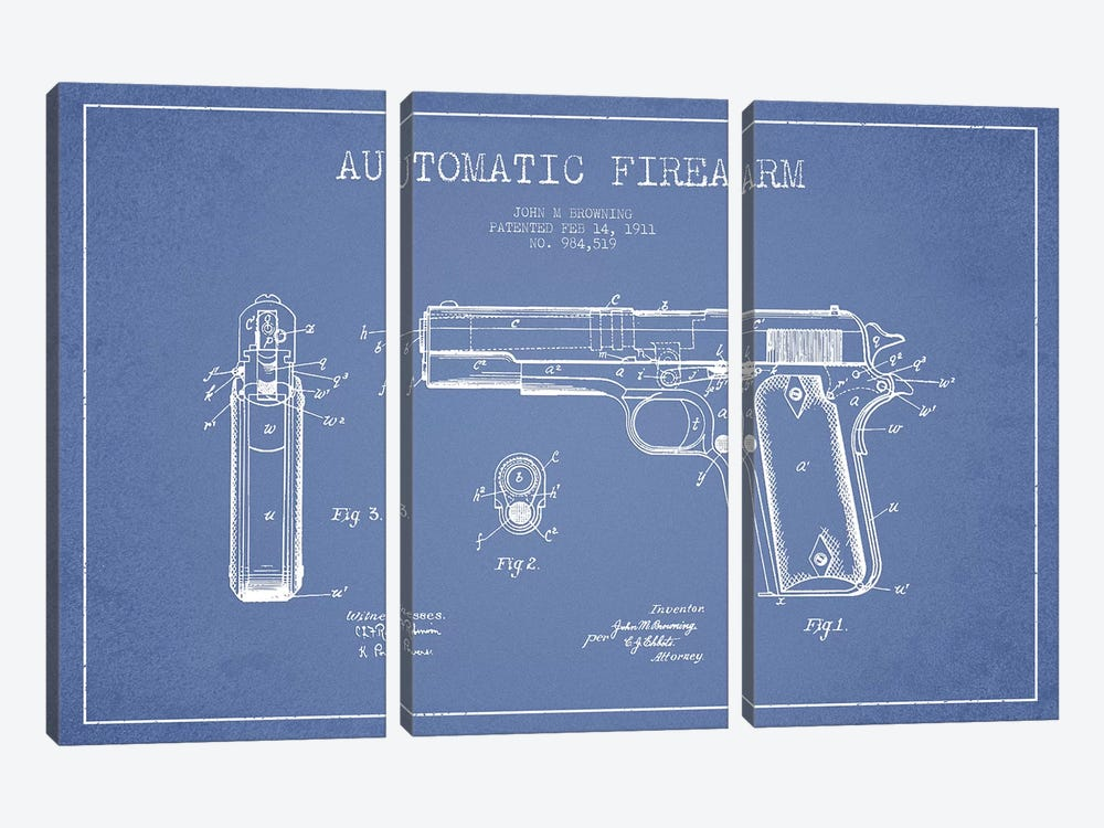 J.M Browning Automatic Firearm Patent Sketch (Light Blue) by Aged Pixel 3-piece Canvas Wall Art