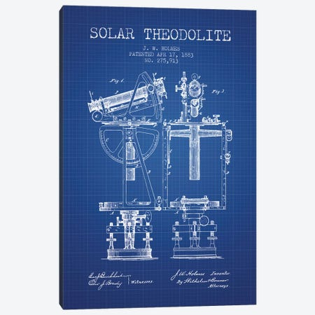 J.W. Holmes Solar Theodolite Patent Sketch (Blue Grid) Canvas Print #ADP2985} by Aged Pixel Canvas Wall Art