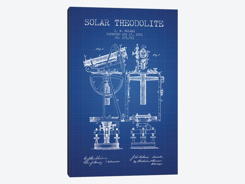 J.W. Holmes Solar Theodolite Patent Sketch (Blue Grid) by Aged Pixel 1-piece Canvas Art Print
