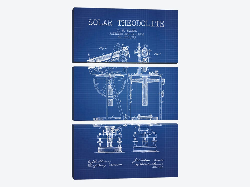 J.W. Holmes Solar Theodolite Patent Sketch (Blue Grid) by Aged Pixel 3-piece Canvas Art Print