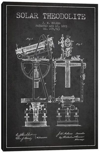 J.W. Holmes Solar Theodolite Patent Sketch (Charcoal) Canvas Art Print
