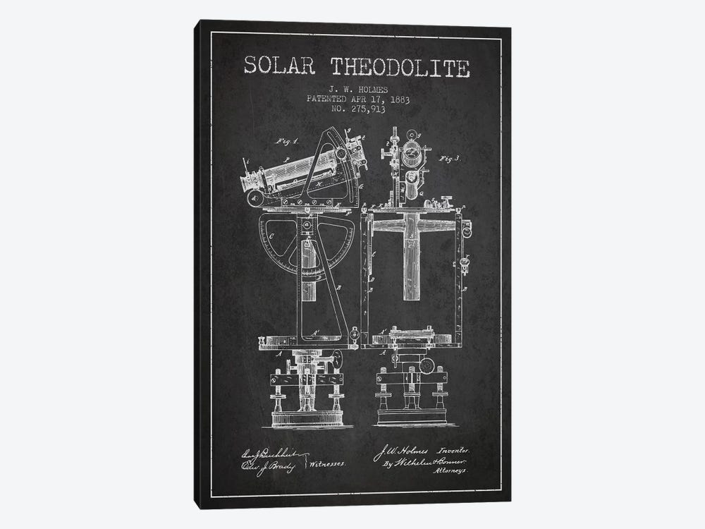 J.W. Holmes Solar Theodolite Patent Sketch (Charcoal) by Aged Pixel 1-piece Canvas Art