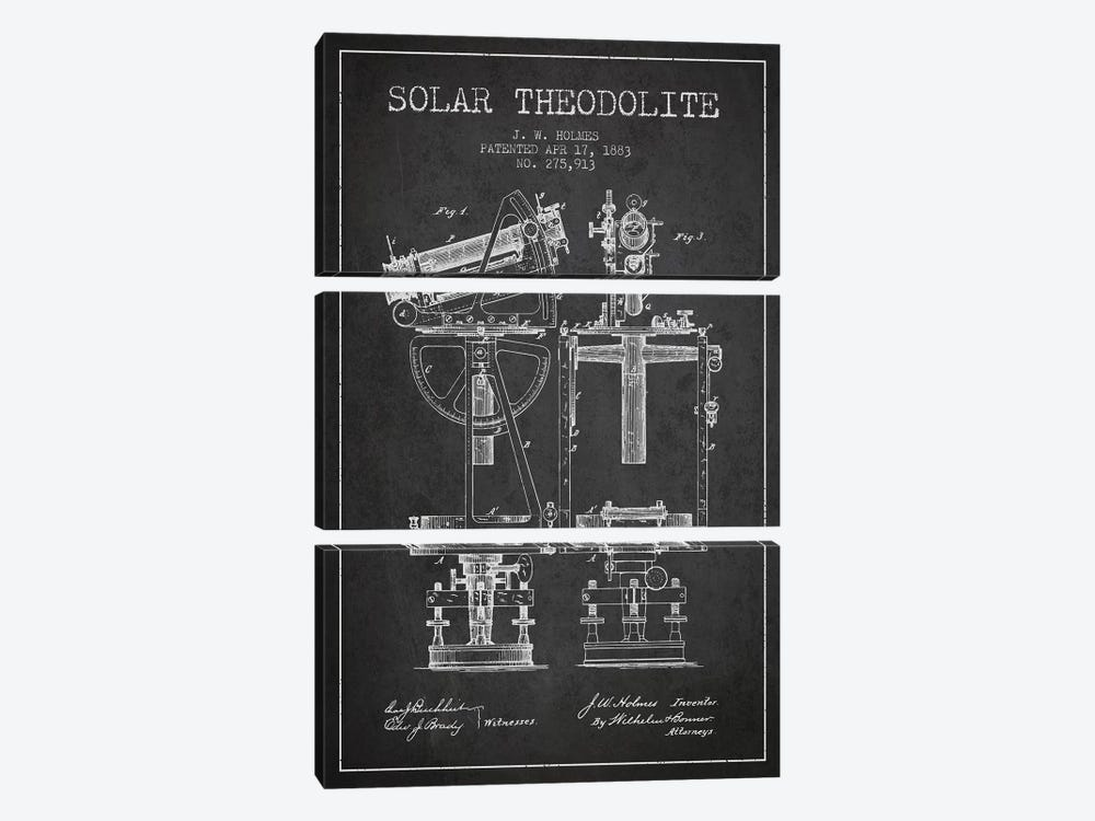 J.W. Holmes Solar Theodolite Patent Sketch (Charcoal) by Aged Pixel 3-piece Canvas Art
