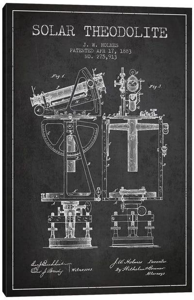 J.W. Holmes Solar Theodolite Patent Sketch (Charcoal) Canvas Art Print