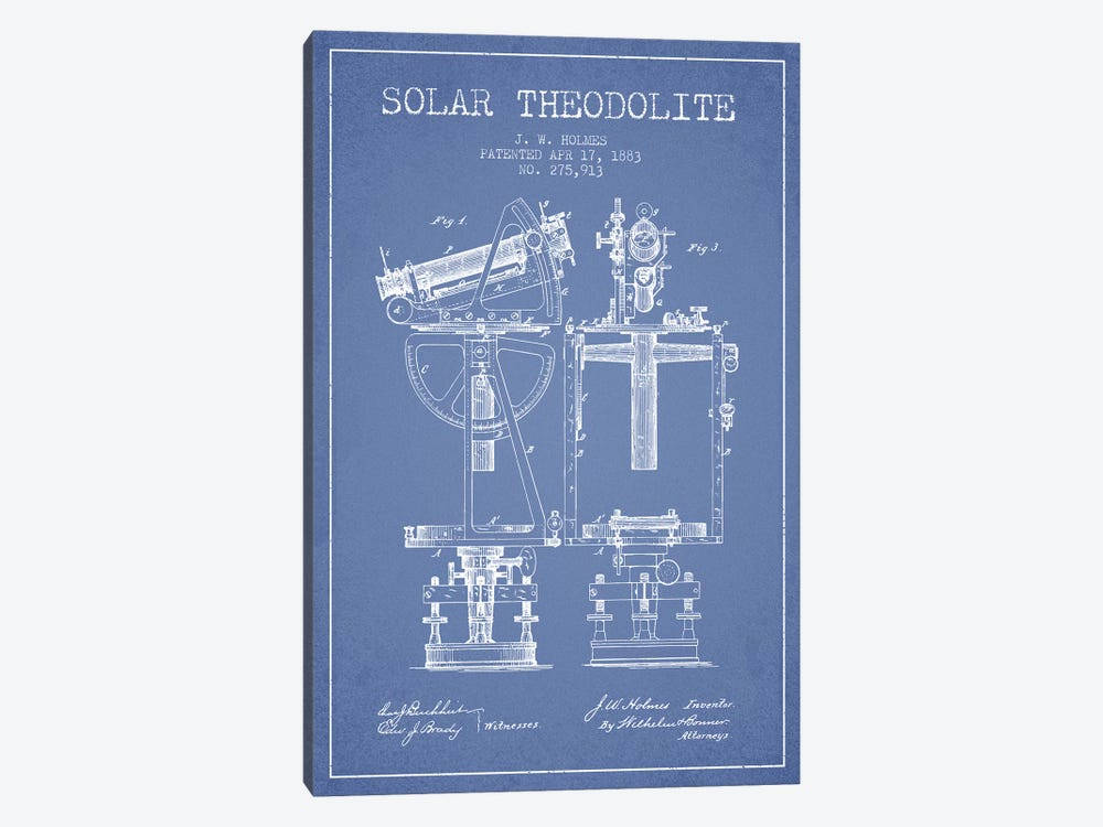 J.W. Holmes Solar Theodolite Patent Sketch (Light Blue) by Aged Pixel 1-piece Canvas Art Print