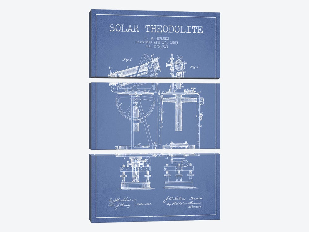 J.W. Holmes Solar Theodolite Patent Sketch (Light Blue) by Aged Pixel 3-piece Canvas Print