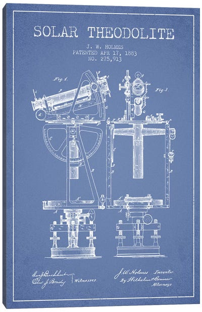 J.W. Holmes Solar Theodolite Patent Sketch (Light Blue) Canvas Art Print