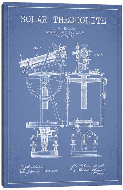 J.W. Holmes Solar Theodolite Patent Sketch (Light Blue) Canvas Art Print