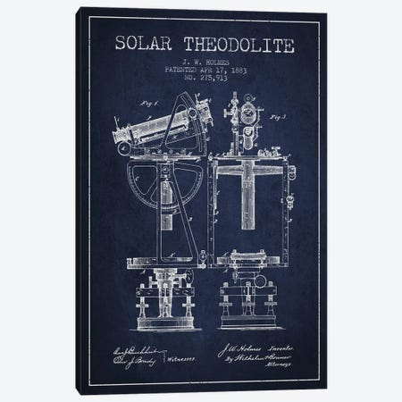 J.W. Holmes Solar Theodolite Patent Sketch (Navy Blue) Canvas Print #ADP2988} by Aged Pixel Canvas Art Print