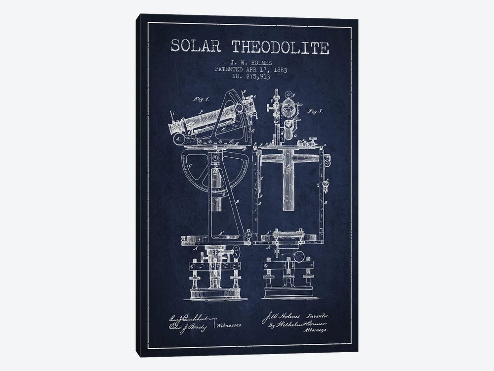 J.W. Holmes Solar Theodolite Patent Sketch (Navy Blue) by Aged Pixel 1-piece Canvas Art
