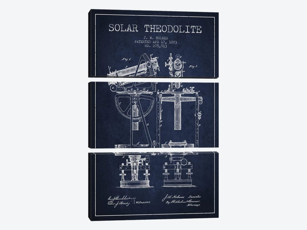 J.W. Holmes Solar Theodolite Patent Sketch (Navy Blue) by Aged Pixel 3-piece Canvas Art