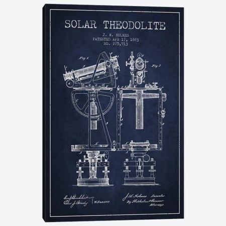 J.W. Holmes Solar Theodolite Patent Sketch (Navy Blue) Canvas Print #ADP2988} by Aged Pixel Canvas Art Print