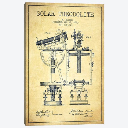 J.W. Holmes Solar Theodolite Patent Sketch (Vintage) Canvas Print #ADP2989} by Aged Pixel Canvas Print