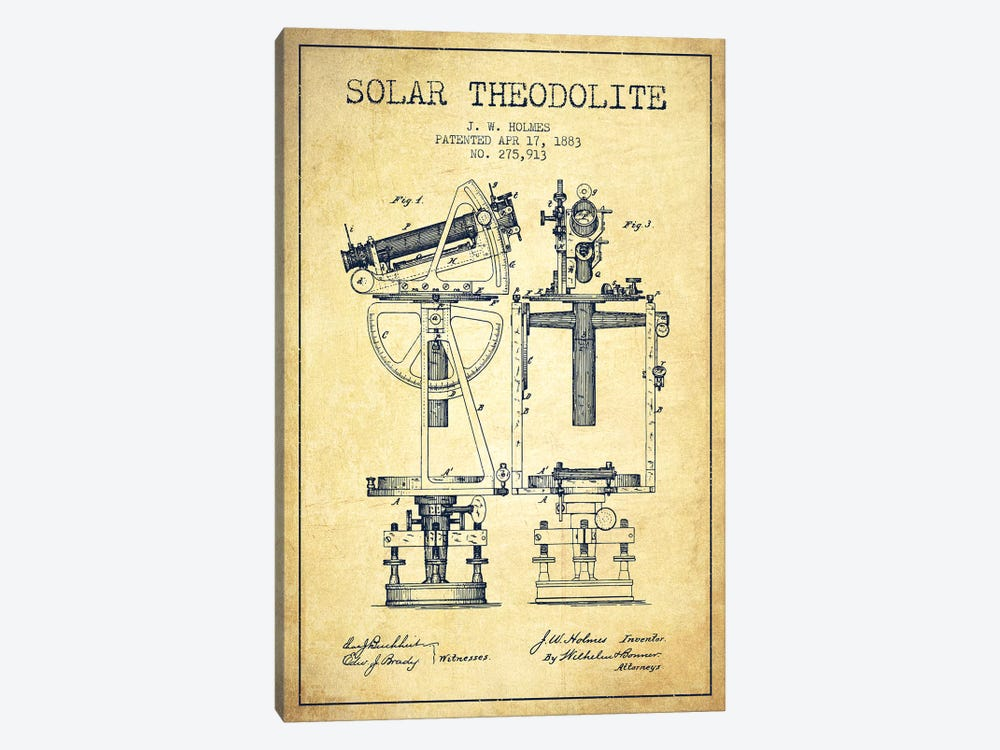 J.W. Holmes Solar Theodolite Patent Sketch (Vintage) by Aged Pixel 1-piece Canvas Art Print