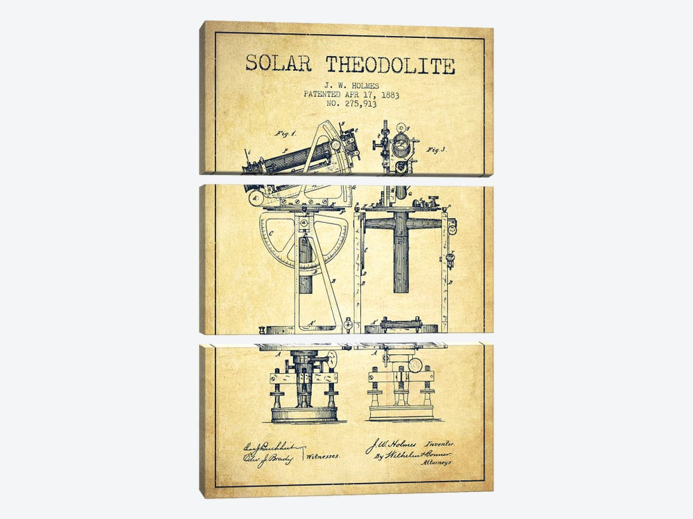 J.W. Holmes Solar Theodolite Patent Sketch (Vintage) by Aged Pixel 3-piece Canvas Art Print