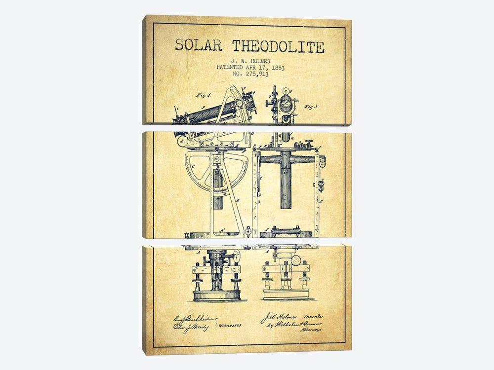 J.W. Holmes Solar Theodolite Patent Sketch (Vintage) by Aged Pixel 3-piece Canvas Art Print