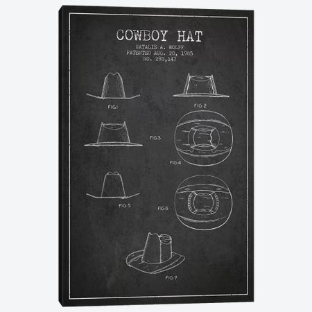 Cowboy Hat Charcoal Patent Blueprint Canvas Print #ADP298} by Aged Pixel Canvas Artwork
