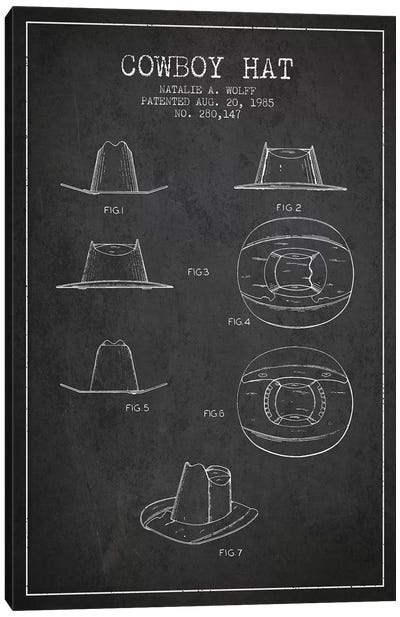 Cowboy Hat Charcoal Patent Blueprint Canvas Art Print