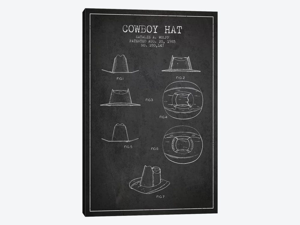 Cowboy Hat Charcoal Patent Blueprint 1-piece Canvas Print