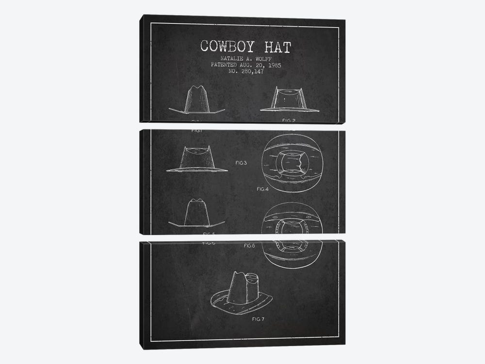 Cowboy Hat Charcoal Patent Blueprint by Aged Pixel 3-piece Canvas Art Print