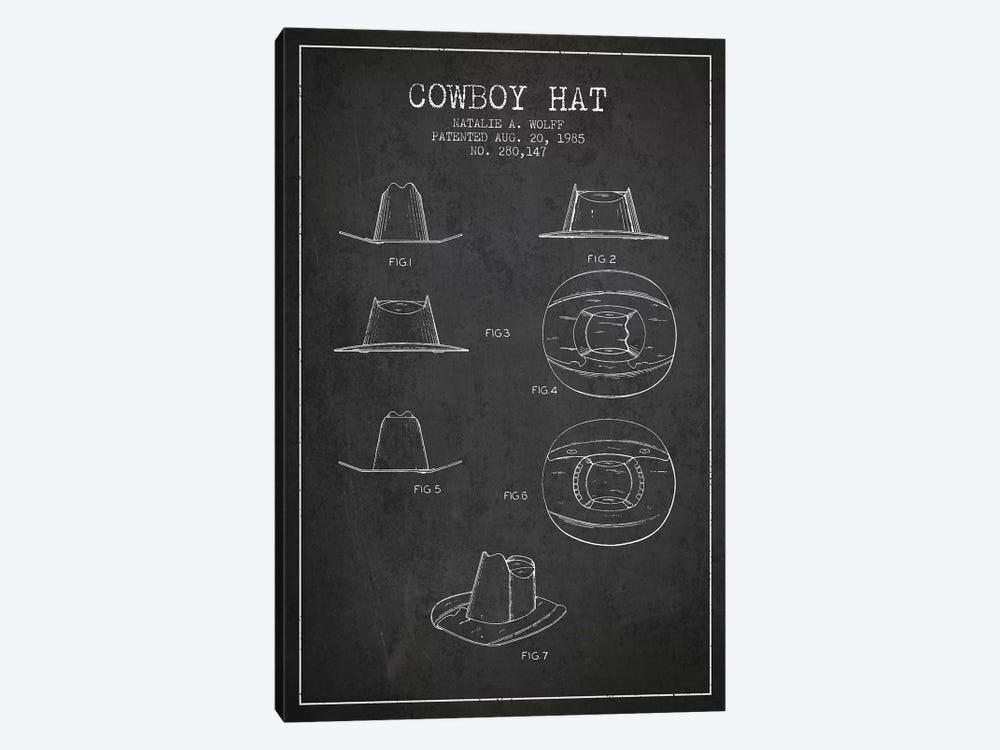 Cowboy Hat Charcoal Patent Blueprint by Aged Pixel 1-piece Canvas Print