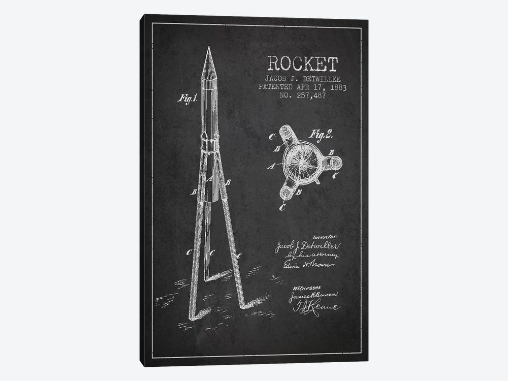 Jacob J. Detwillee Rocket Patent Sketch (Charcoal) by Aged Pixel 1-piece Canvas Print